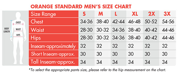 Orange Standard Men's Scrubs Size Chart - Murse World