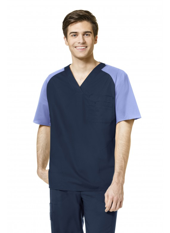 WonderFLEX 6818 Ancore Color Block Men's Scrub Top - 6818