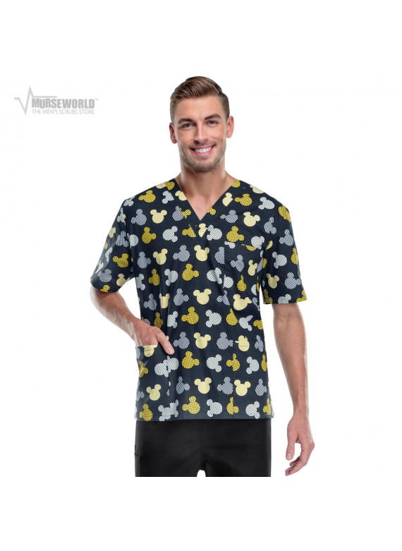 "Tooniforms Disney ""Heads Above The Rest"" Mickey Mouse Unisex Scrub Top - 6876C"