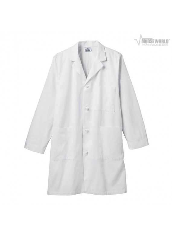 "META Labwear Men's 40"" 100% Cotton Knot Button iPad Labcoat - 762"