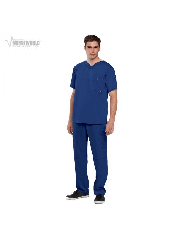 Grey's Anatomy Men's Modern Fit High V-Neck 3 Pocket Top with 6 Pocket Cargo Pant - 0107/0212 Derek
