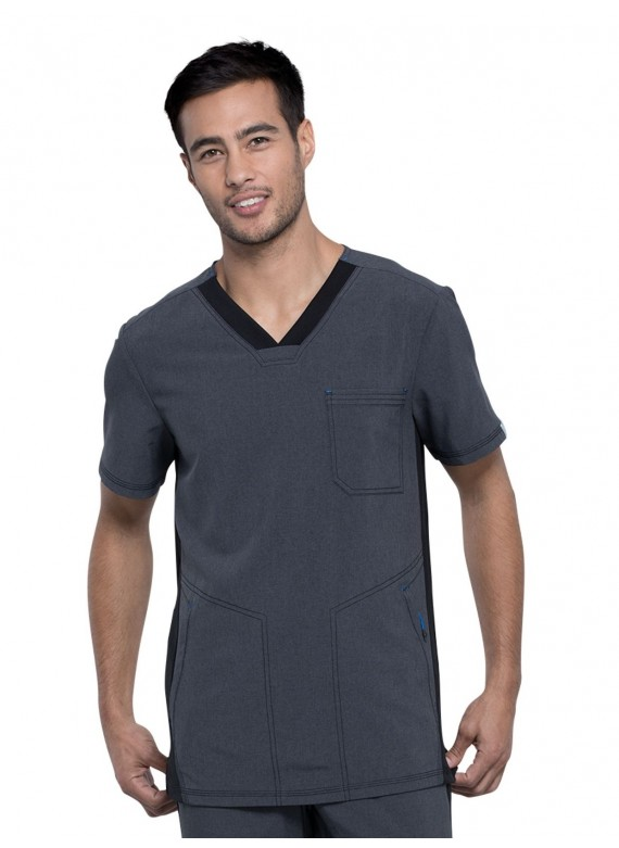 Cherokee Infinity Men's Color Block Antimicrobial Scrub Top- CK639A