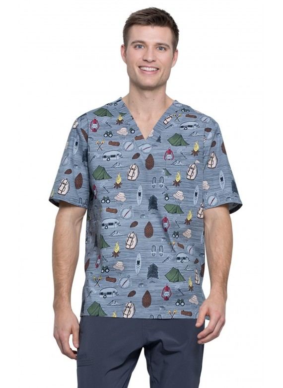 Cherokee Men's V-neck Prints Scrub Top in Outdoor Adventures- CK675