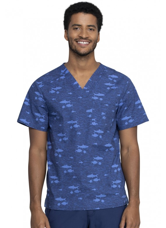 Cherokee Prints Men's V-neck Stretch Scrub Top in Stay in School- CK692
