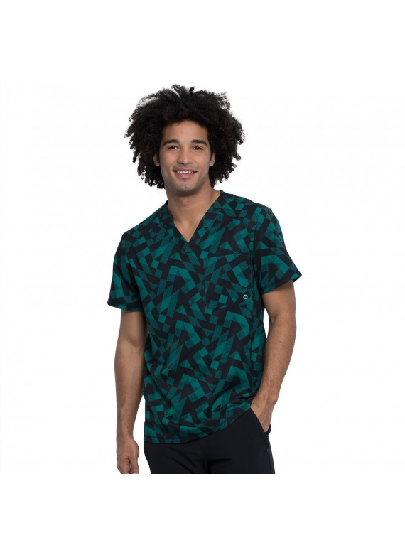 Cherokee Infinity Men's One Pocket Scrub Top in Awesome Angles- CK902