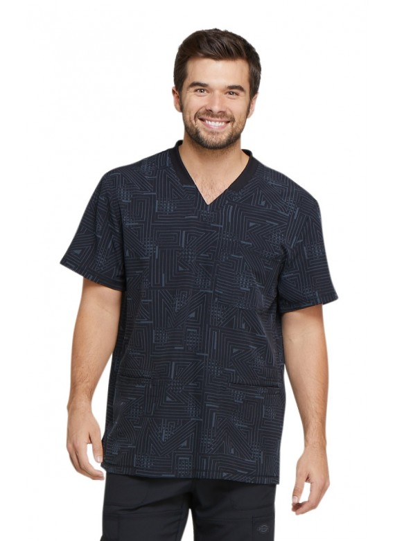 Dickies Dynamix Men's Print Labyrinth V-Neck Scrub Top - DK607
