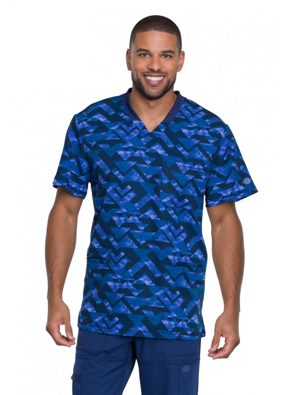 Dickies Dynamix Men's Make A Point V-Neck Print Scrub Top - DK607