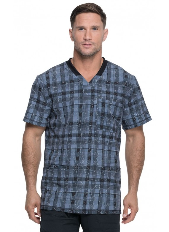 Dickies Dynamix Men's Three Pocket Print Scrub Top in Positively Plaid Pewter- DK607
