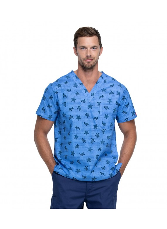 Dickies EDS Prints Men's Sea Life Cool Print Scrub Top- DK725
