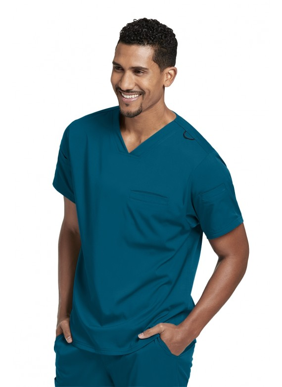 Gray's Anatomy Spandex Stretch Men's Wesley 3 Pocket Scrub Top- GRST009