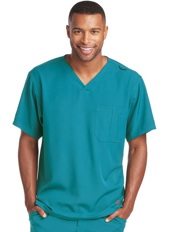 Skechers Men's Structure One Chest Pocket V- Neck Scrub Top- SK0112