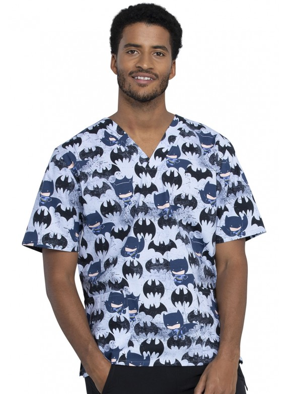 Cherokee Tooniforms Unisex 2 Pocket Print Scrub Top in Knight Out -TF606