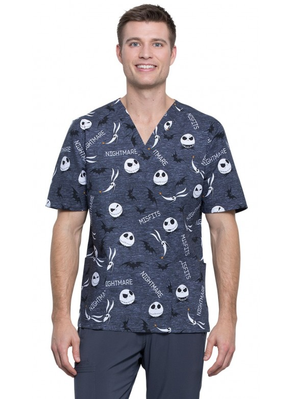 Cherokee Tooniforms Unisex Scrub Top Print in Nightmare Misfits - TF606 NCFT