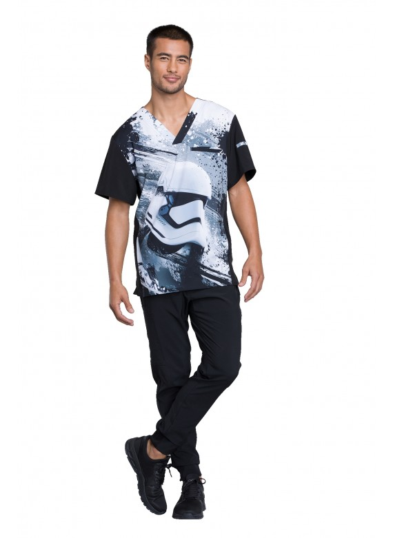 Cherokee Tooniforms Men's V-Neck First Order Star Wars Scrub Top - TF700