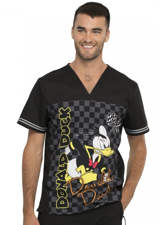 Tooniforms by Cherokee Men's Donald Duck Print Scrub Top Built for Speed – TF702 MKSD