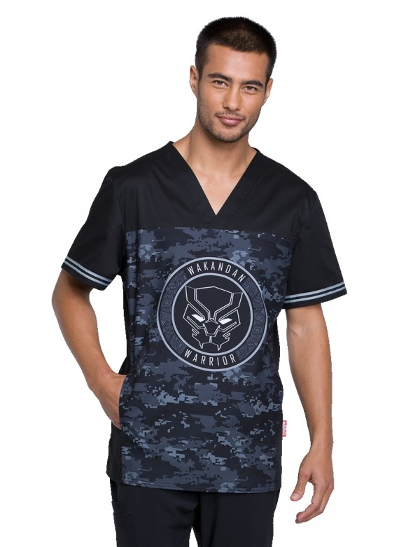 Tooniforms Wakandan Warrior Men's Marvel V-Neck Scrub Top - TF707