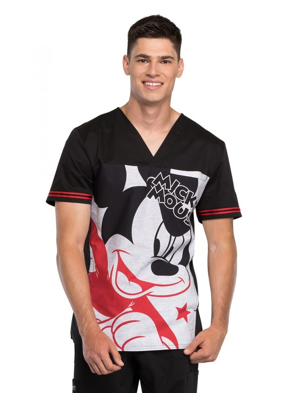 Cherokee Tooniforms Men's Mickey Star V-Neck Scrub Top - TF707