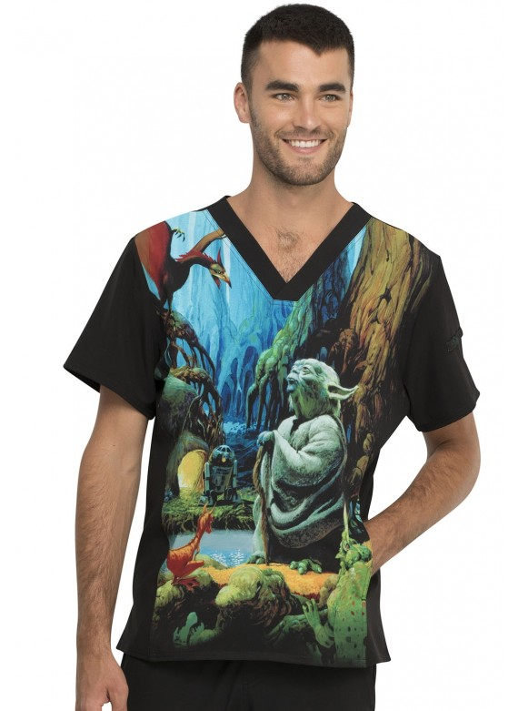 Tooniforms Men's Star Wars Jedi Master I Am Print Scrub Top- TF708 SRJM