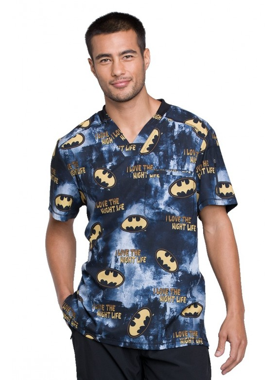 Cherokee Tooniforms Men's Night Life Batman Scrub Top - TF730 DMKL
