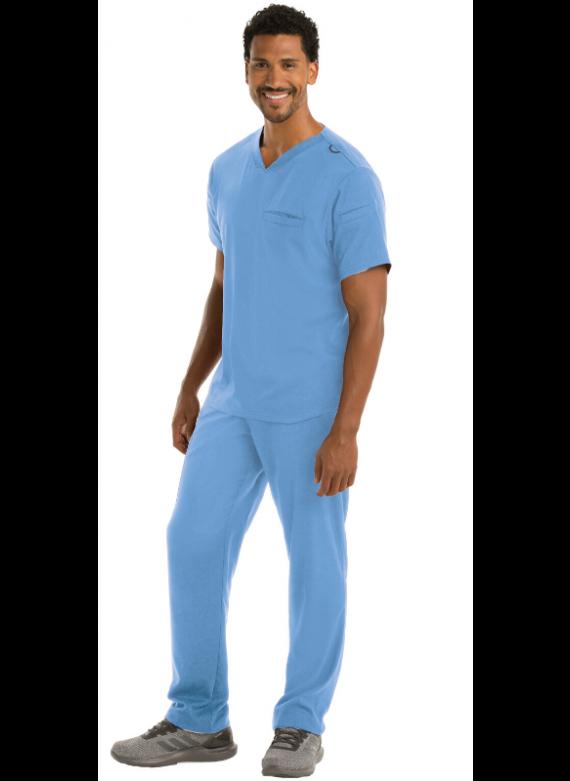 Grey's Anatomy Spandex Stretch Men's Wesley Multi Pocket Scrub Set- GRST009/GRSP507