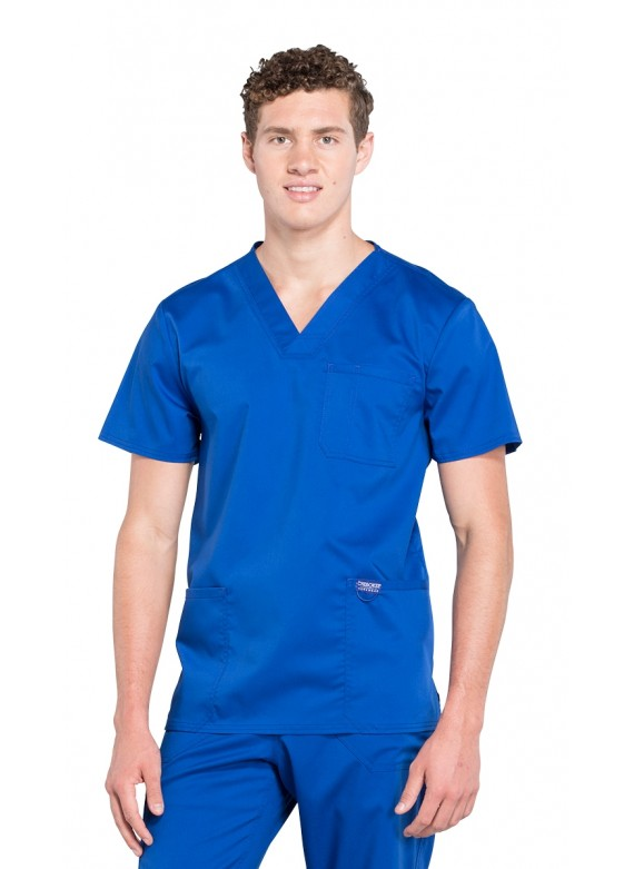 Cherokee Workwear Revolution Men's Stretch 3 pocket V-neck Scrub Top-WW670