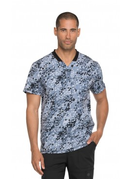Dickies Dynamix Get Down Grid It Men's Printed V-Neck Scrub Top - DK607