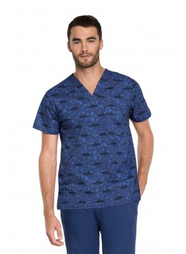 Dickies Prints Shark Week Men's V-Neck Print Scrub Top - DK725