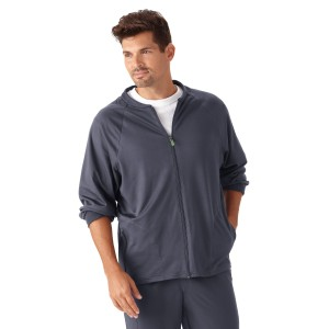 Jockey Men's Front Zip Fleece lined Warm Up Scrub Jacket-2397