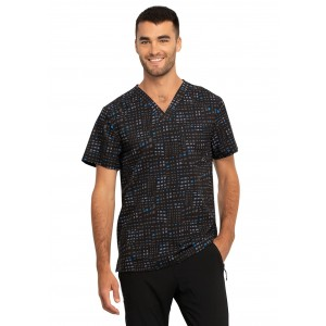 Cherokee Infinity Men's Glowing Grid Print Scrub Top – CK902 GWGD