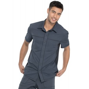 Dickies Dynamix Men's Polo Scrub Shirt Top with Button Front- DK820