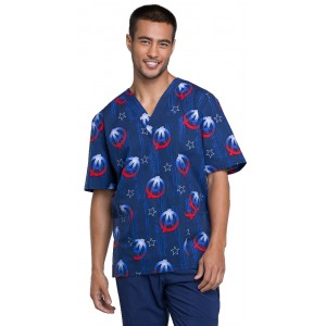 Cherokee Tooniforms Men's Marvel A For Avengers Scrub Top - TF606 MAAF