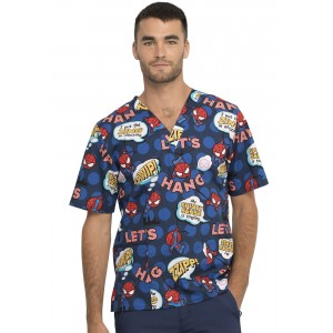 Tooniforms Marvel I'm Amazing Spider-Man Print Scrub Top- TF606