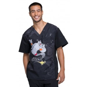 Cherokee Tooniforms Three Wishes Men's V-Neck Print Scrub Top - TF700 ADTW