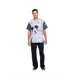 Cherokee Tooniforms Men's V-Neck Mickey and Friends Scrub Top - TF700 MKAF