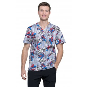 Cherokee Tooniforms Mens's 3 Pocket Print Scrub Top in Webbed Wonder- TF740