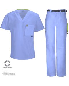 Code Happy Men's Antimicrobial V-Neck Top with Belted Cargo Pant - 16600A/CH205A