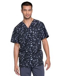Cherokee Infinity Men's V-neck Print Scrub Top Brush Stroke Black-CK902