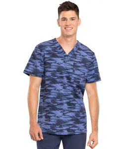 Cherokee Infinity Men's Print V-Neck Scrub Top Down the Line- CK902