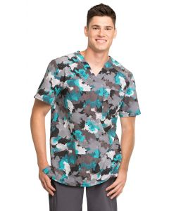 Cherokee Infinity Men's V-neck Scrub Print Top Texture Powder -CK902