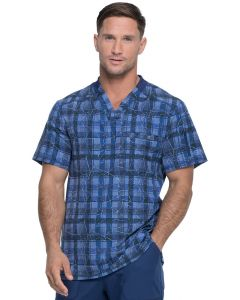 Dickies Dynamix Men's Two Pocket Print Scrub Top in Positively Plaid Navy- DK611