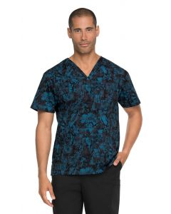 Dickies Prints Men's Tech-nically Speaking V-Neck Print Scrub Top- DK725