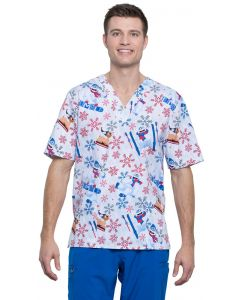 Cherokee Tooniforms Unisex Print Two Pocket Scrub Top in Bumble Rumble- TF606 RUBM