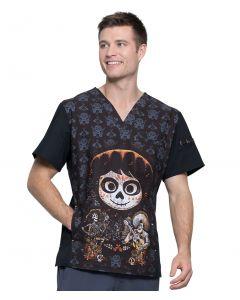 Cherokee Tooniforms Men's Disney Print Scrub Top Pixar Coco – TF700