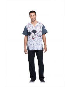 Cherokee Tooniforms Men's V-Neck Mickey and Friends Scrub Top - TF700 MKAF