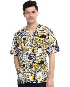 Cherokee Tooniforms Scrub Printed Minions Top in Iconic Mayhem- TF701