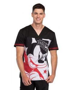 Cherokee Tooniforms Men's Mickey Star V-Neck Scrub Top - TF707