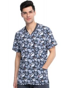Tooniforms by Cherokee Print 3 Pocket Scrub Top Boogie with Jack- TF725