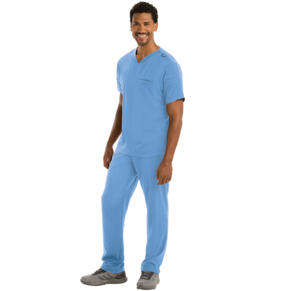 Grey's Anatomy Spandex Stretch Men's Wesley Multi Pocket Scrub Set- GRST009/GRSP507
